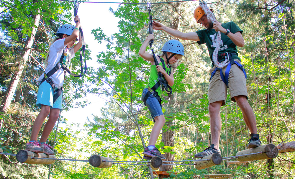 people on rope course