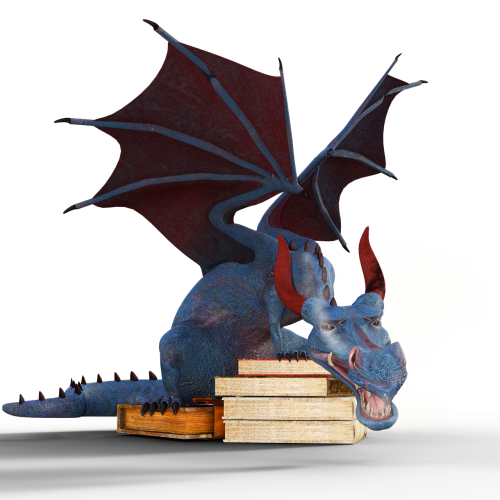tired dragon resting on books
