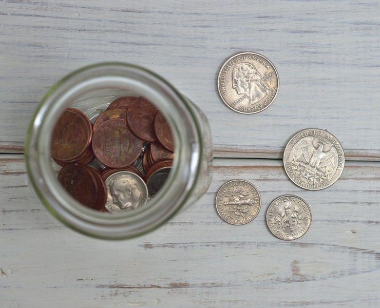 coins in bottle for donations