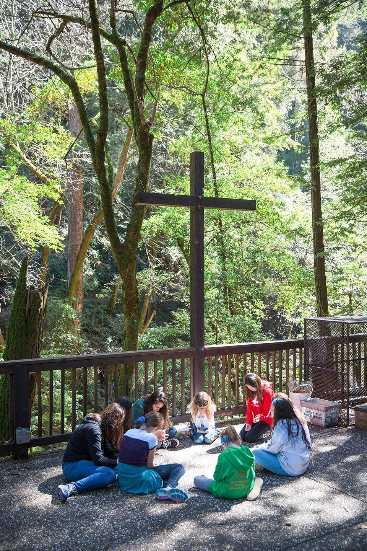 A small group praying